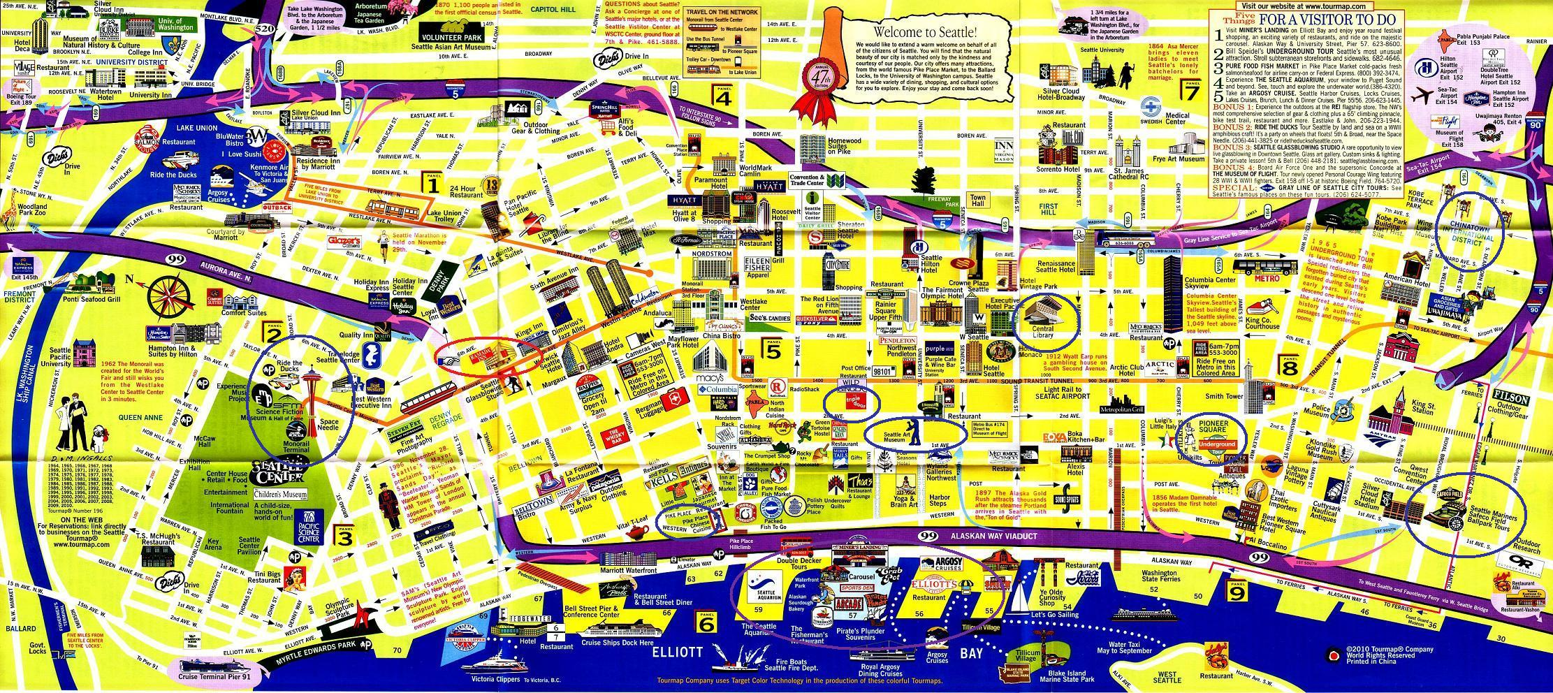 Downtown Seattle Walking Map Related Keywords Downtown Seattle – Seattle Washington Map Tourist